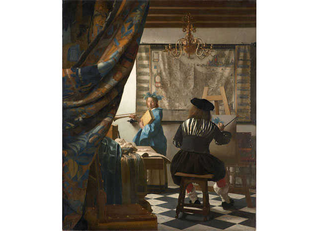 フェルメール「絵画芸術(絵画の寓意などとも呼ばれています)」に描かれたシャンデリア。1666年頃に描かれたと言われており、現在はウィーンの美術史美術館に所蔵されています。