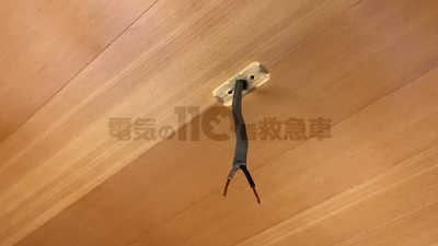 古いシーリングを取外した後の天井と配線