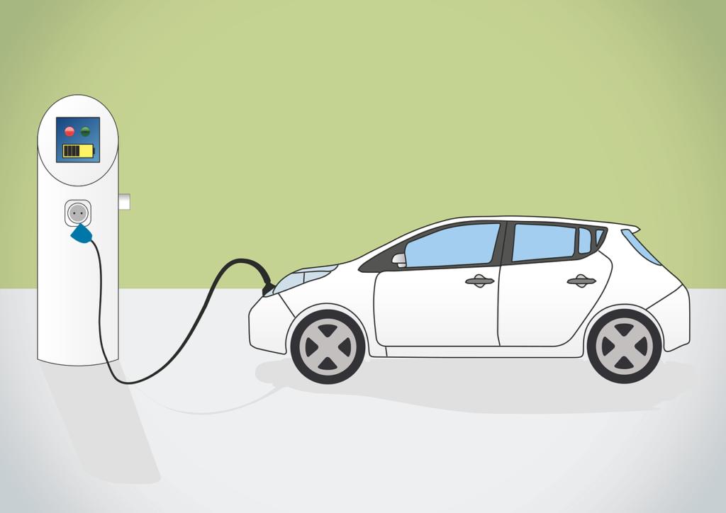 電気を充電する電気自動車